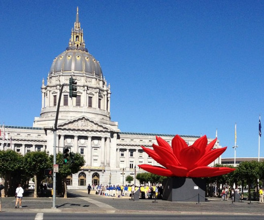 San Francisco's famed City hall, boasting one of the largest rotunda's in the world; here  Choi Jeong Hwa's Breathing Lotus sculpture graces the mall