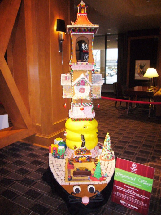 Hickory Dickory Dock - in this gingerbread house there are moving parts, too - including mice and the clock.