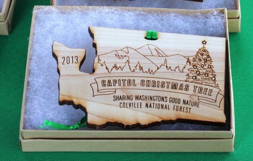I bought one of the souvenir wooden cedar Christmas ornaments made in Washington state.