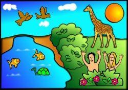 Adam & Eve in the Garden at Creation