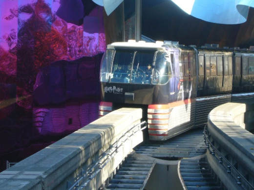 Seattle Monorail Passing Through the Experience Music Project (EMP)