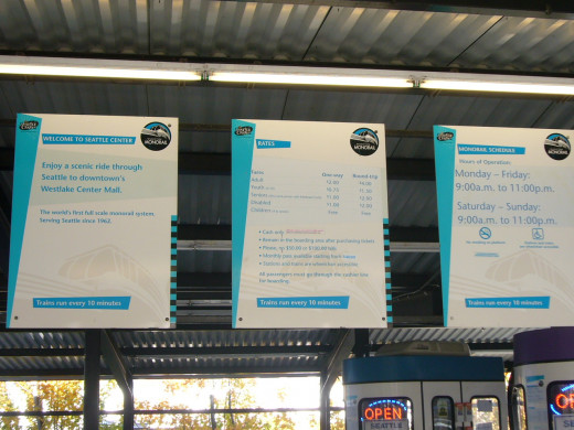 Signs at the Monorail Terminal at the Seattle Center