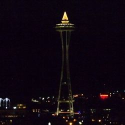 Seattle Space Needle with Christmas Lights