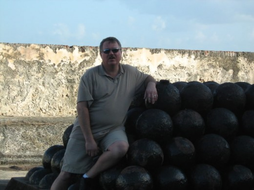 Steve sitting on the Cannonballs