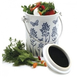 Decorative compost pails make taking scraps to the composter simpler and less frequent.