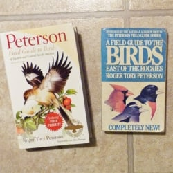 New copy next to old copy of Peterson Field Guide to Birds of Eastern and Central North America