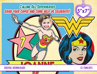 Wonder Woman Photo invites from FanCuts etsy store