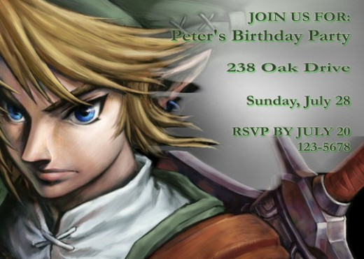 Legend of Zelda Personalized Party Invites