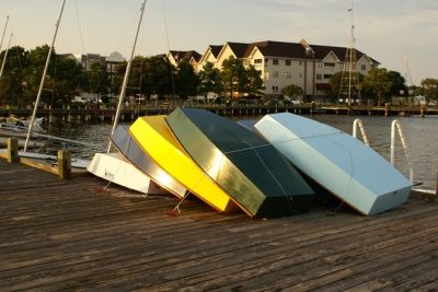Boats Stacked on Dock  in Manteo