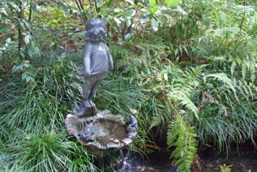 This little statue sits among the ferns.