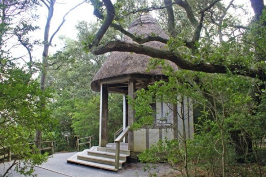 This gazebo sits toward the back of the gardens and overlooks Roanoke Sound.