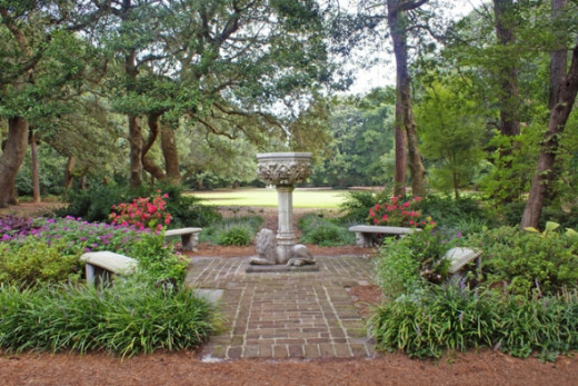 Beautiful fountains are throughout the gardens.