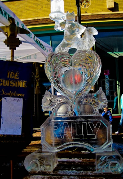 Rally Squirrel Ice Sculpture