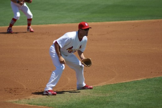 Here David Freese is playing 3rd base.