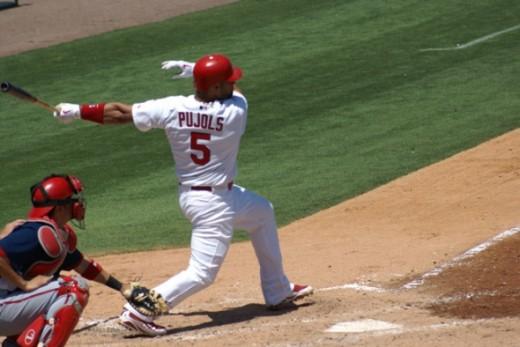 Albert Pujols at bat in the 1st inning.