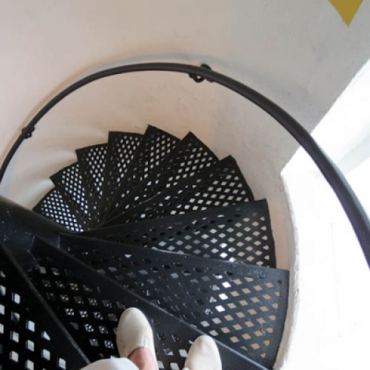 Climbing Down the Lighthouse Stairs at Point Betsie
