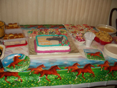 This is how we decorated for Lacey's horse theme birthday party.