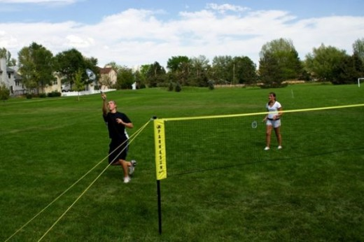 Playing badminton is fun for a summer day!