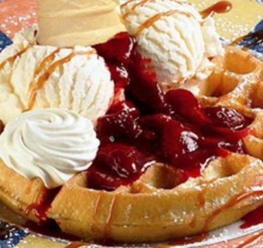Belgian Waffle with Strawberries and Home-made Whipped Cream