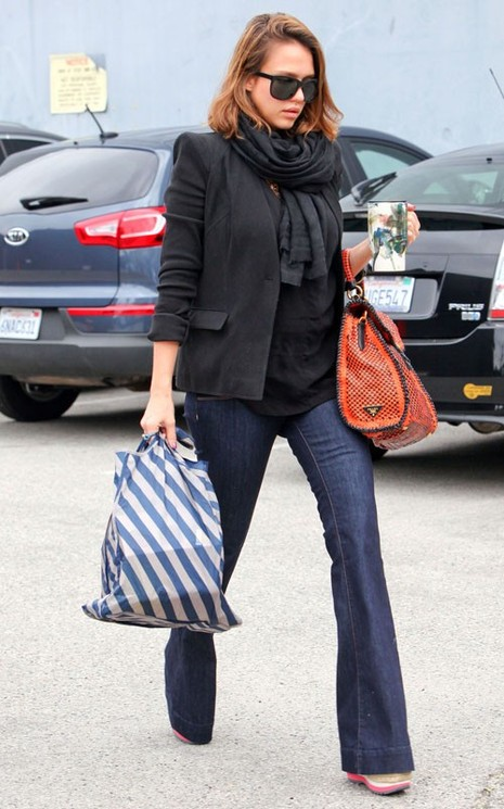 Jessica Alba in Mama J by J Brand Love Story Maternity Jeans
