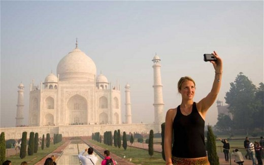 Women traveler in India
