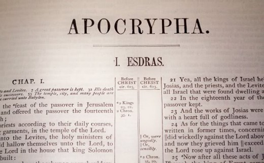 The beginning of the Apocrypha with the 1st chapter of the first book Esdras.