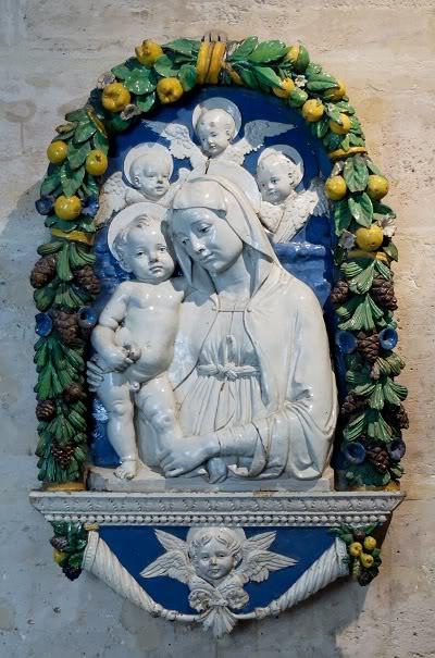 Virgin, Child and three cherubim (statue)