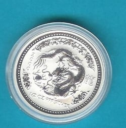This is a Perth Mint Series I silver dragon coin, part of the Lunar Coin series.