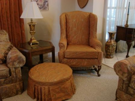 wing chair footstool slipcover