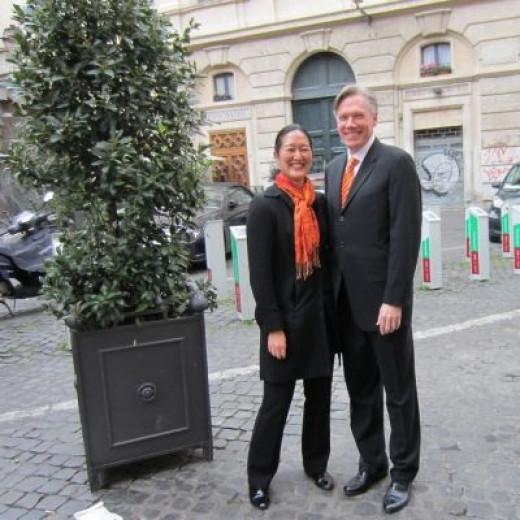 My Husband and I in Rome Near Campo Dei Fiori