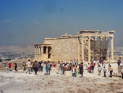 The southeast corner of the Erectheion shows how it's a bunch of different parts stuck together. The Parthenon is just out of sight to the left.