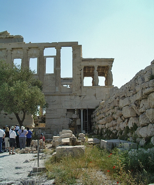 The west side of the Erechtheion. Lovely poppies.
