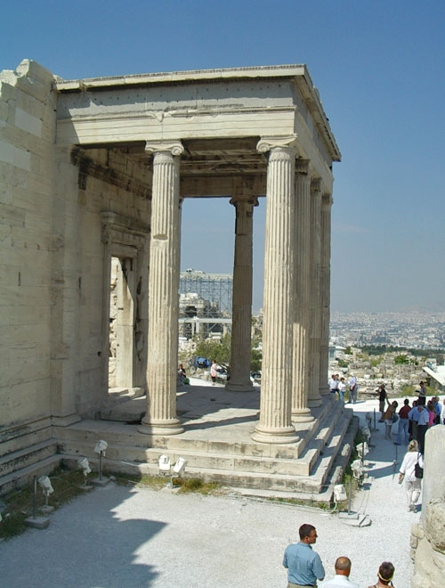 The north porch of the Erechtheion faces out over the city below.