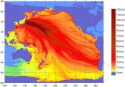 NOAA Map of Tsunami Waves, Sendai Earthquake 2011