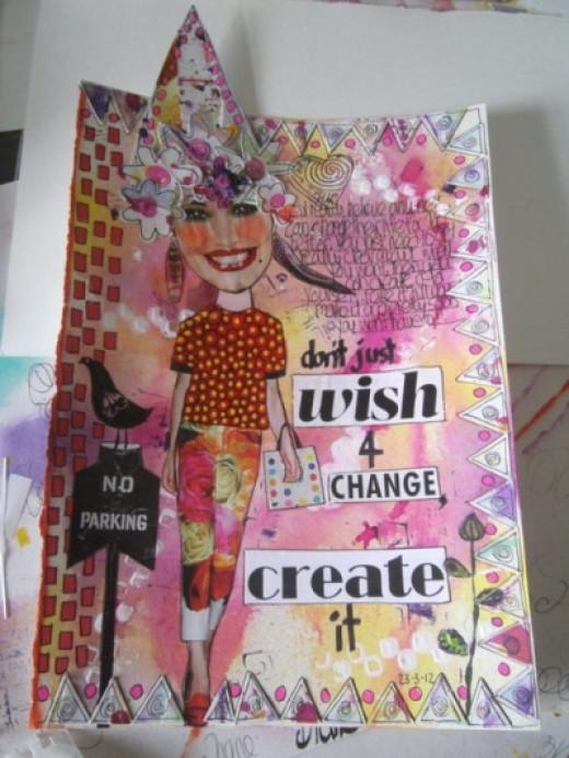 """Create Change"" Art JOurnal Page by Di McDonald"