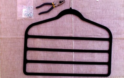 The materials you need to make a jewelry hanger