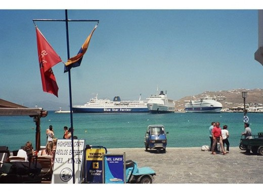 Mykonos' harbor is full of huge ferries and small cruise ships touring the Aegean Isles. Many Greek honeymooners or wedding parties come to Mykonos by boat or jet.