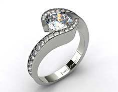 Platinum Bypass Pave Set Diamond Engagement Ring
