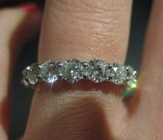 eternity ring on finger picture