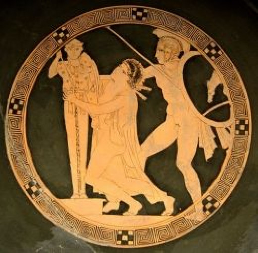 Kassandra dragged away from the altar by Ajax during the sack of Troy