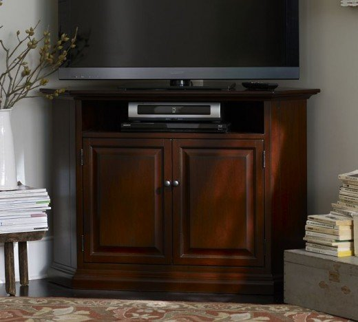 Need a media console solution to put your TV in a corner while not skimping on style?