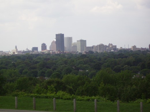 View of Rochester, New York skyline from Highland Park Reservoir
