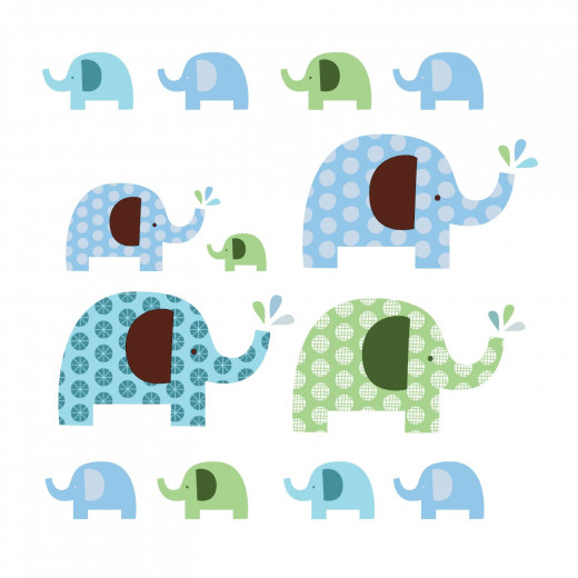 Skip Hop Elephant Decals and coordinating bedding available on Amazon