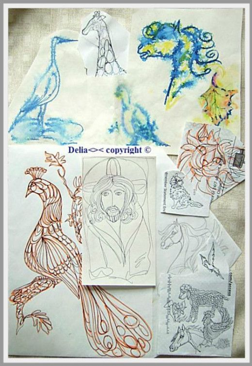 original doodles on envelopes and scrap paper