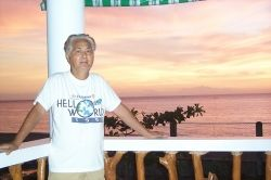 The author in the balcony of the Chateau Du Mer Beach House, Boac, Marinduque, Philippines