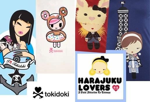 Tokidoki vs Harajuku Lovers Clothing Design Style