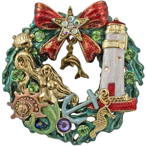 Kirks Folly Nautical Christmas Wreath Pin