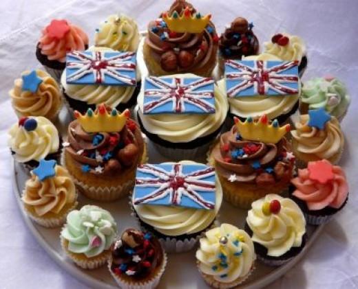 Union Jack Cupcakes Display
