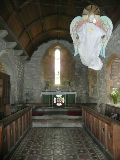 Watched over by Angels and Mermaids in St Senara's Church, Zennor. The Mermaid Chair is located off to the right hand side.