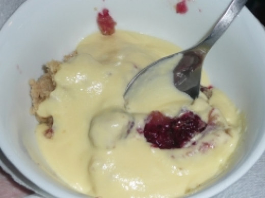 Apple and Blackberry Crumble with Custard